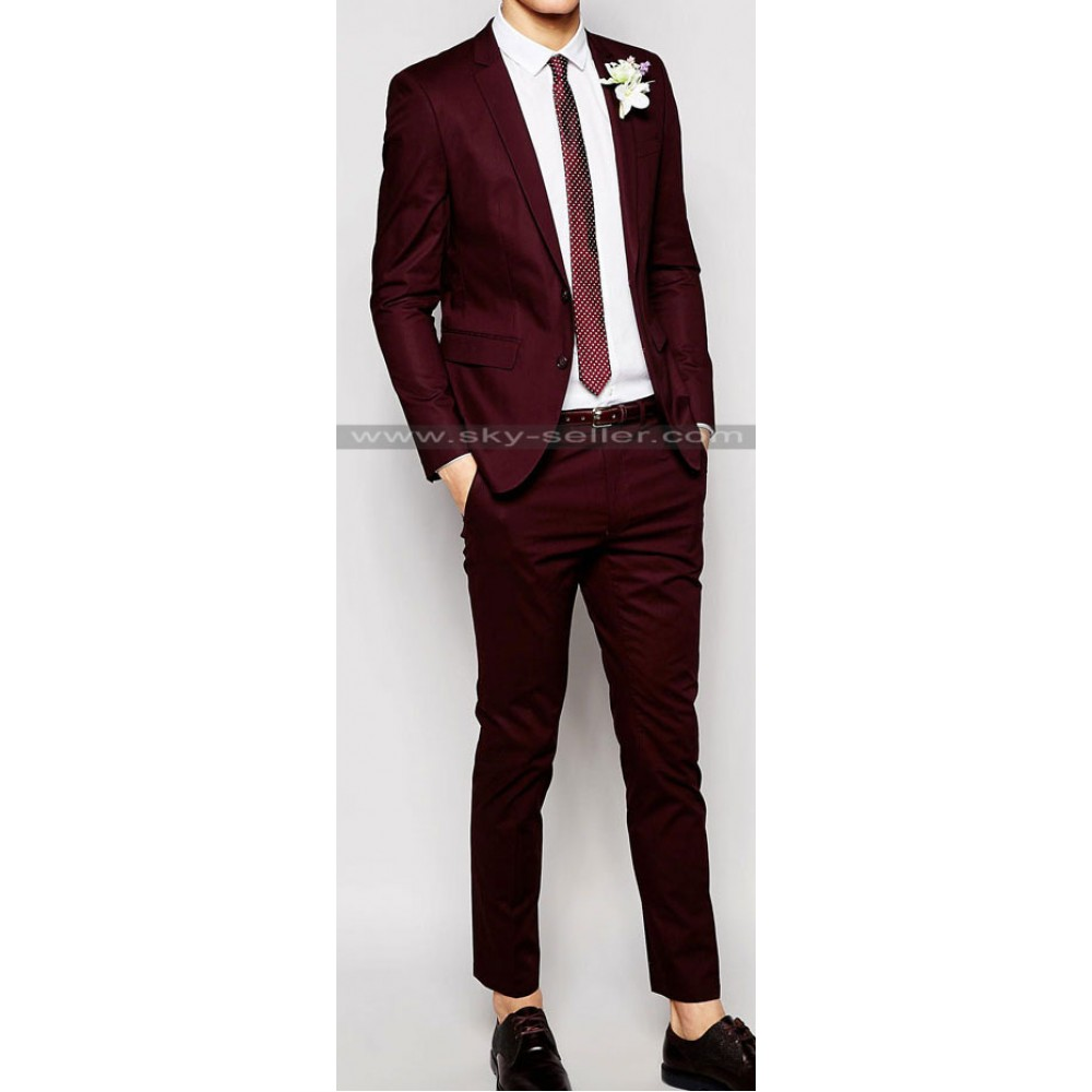 Men's Skinny Fit Poplin Suit in Burgundy