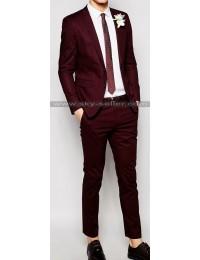 Men's Skinny Fit Poplin Suit in Burgundy