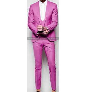 Super Skinny Fit Men's Pink Suit with Shawl Lapel