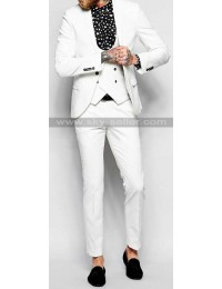Men's White Skinny Fit with Stretch Shawl Lapel Suit