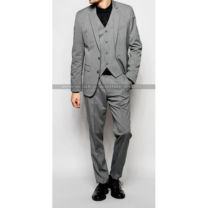 Notch Lapel Men's Mid Grey Suit with Stretch