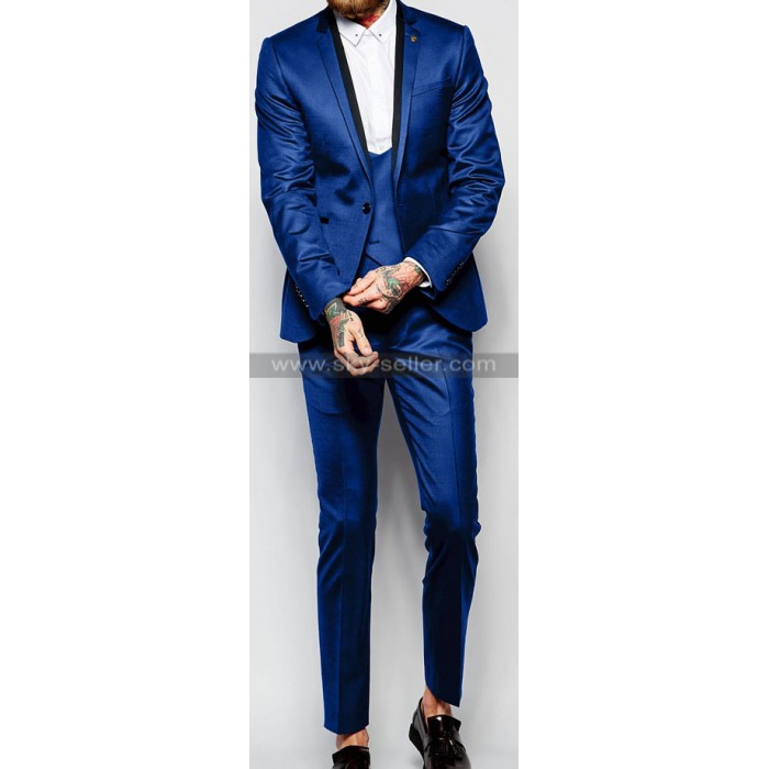 Slim Fit Blue Notch Lapel Suit with Jacquard and Stretch