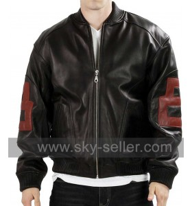 Black 8 Ball Mens Bomber Leather Jacket
