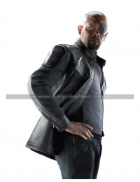 Avengers Age of Ultron Nick Fury Black Leather Jacket