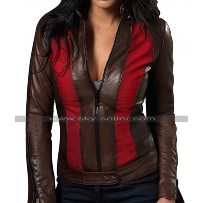 Blade Trinity Jessica Biel (Abigail Whistler) Black & Red Leather Jacket