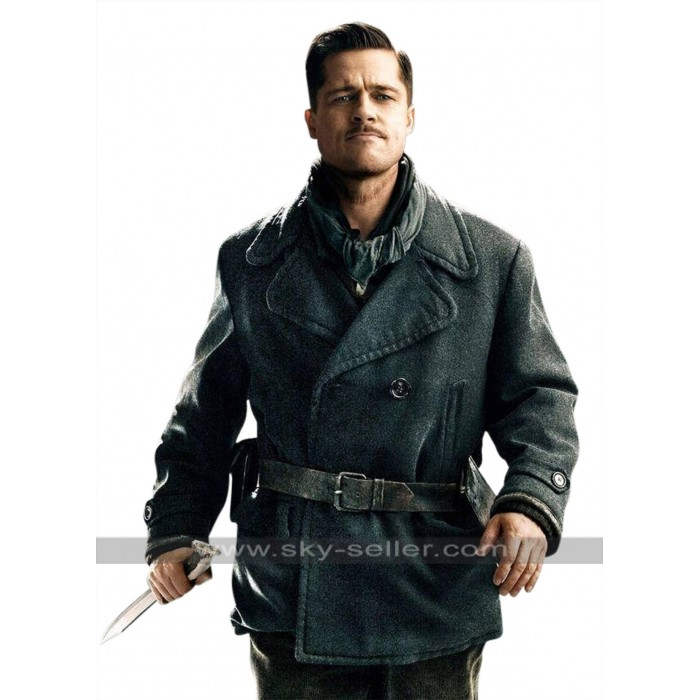 Inglourious Basterds Brad Pitt Wool Pea Coat