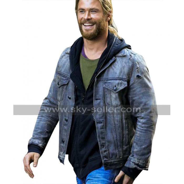Thor Ragnarok Chris Hemsworth Grey Denim Jacket