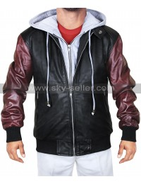 Justice League Flash Logo Hoodie Bomber Leather Jacket