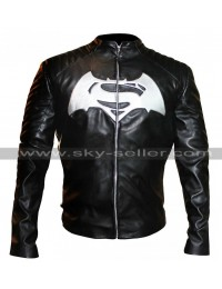 Batman V Superman Dawn of Justice White Logo Black Jacket