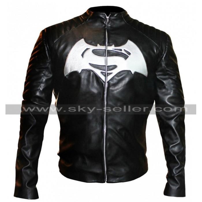 Batman V Superman Dawn of Justice White Logo Black Jacket