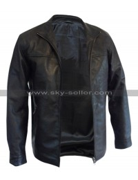 The Departed Leonardo DiCaprio Officer Billy Costigan Black Biker Leather Jacket