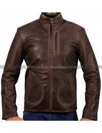 Dwayne Johnson Rampage Brown Distressed Leather Jacket