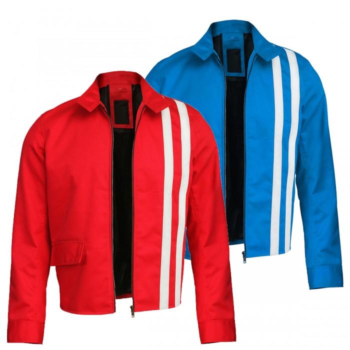 Elvis Presley Speedway Retro White Stripes Red / Blue Cotton Jacket