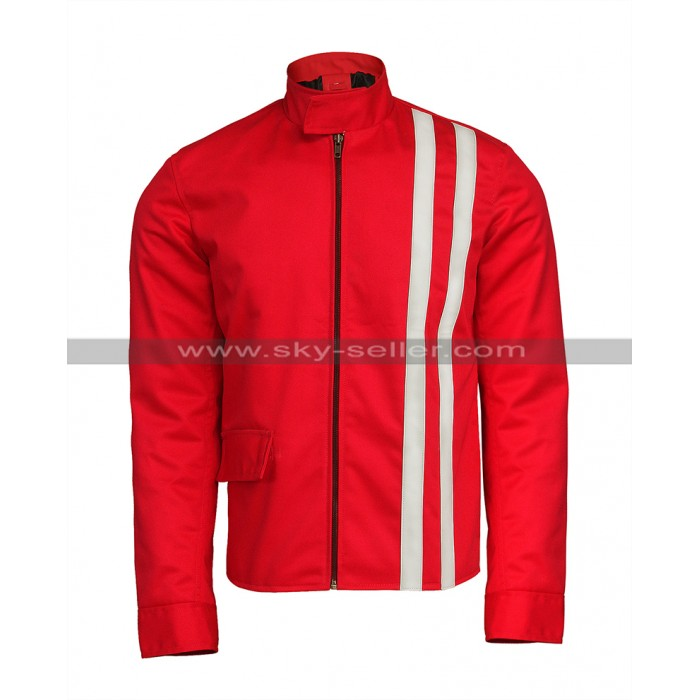 Elvis Presley Speedway Retro White Stripes Red Cotton Jacket