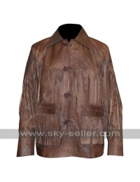 Eric Bana Deadfall Addison Fringe Distressed Long Jacket