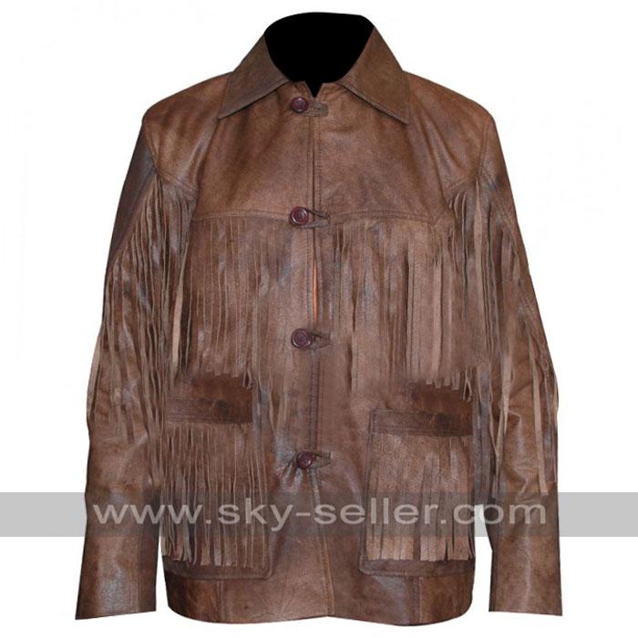 Eric Bana Deadfall Addison Fringe Distressed Long Jacket