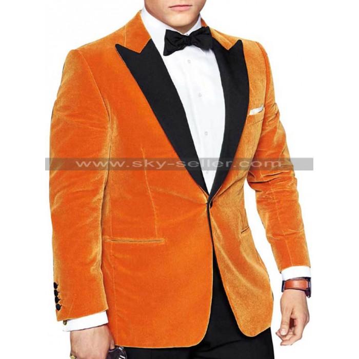 Kingsman 2 Taron Egerton (Eggsy) Orange Tuxedo Blazer