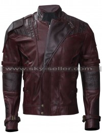 Starlord Guardians Galaxy Vol 2 Distressed Maroon Leather Jacket