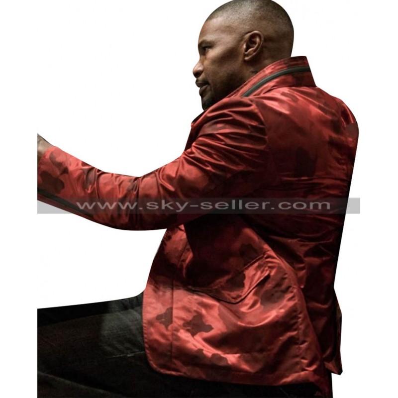 0204b21e7 Jamie Foxx Baby Driver Bats Red Satin Jacket