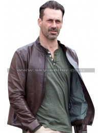 Baby Driver Jon Hamm Buddy Brown Leather Jacket