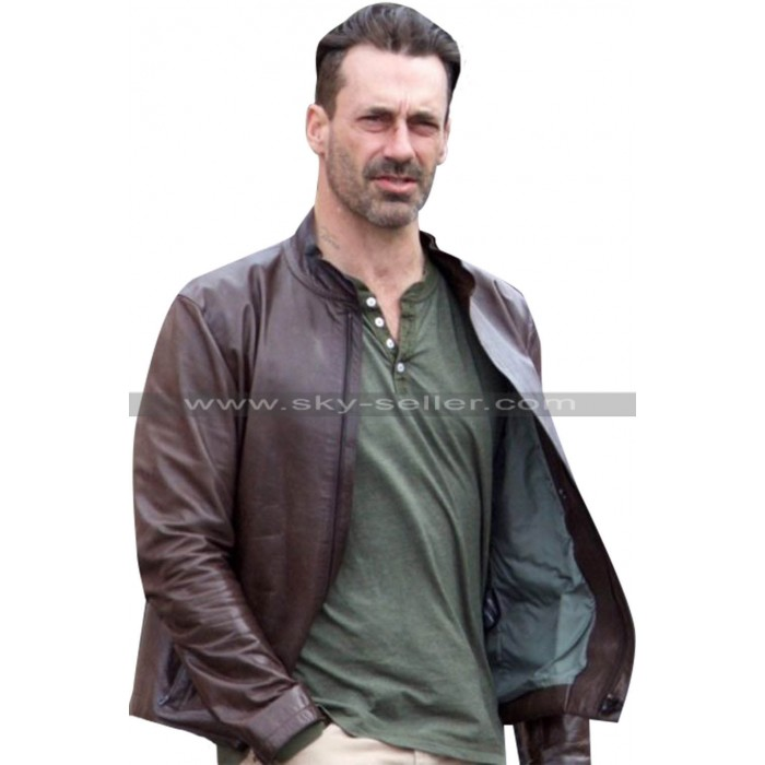 Baby Driver Jon Hamm Buddy Brown Leather Jacket