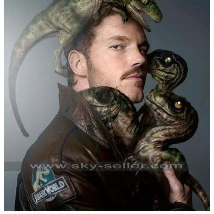 Jurassic World Chris Pratt (Owen) Patch Brown Jacket