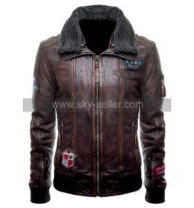 Justice League (Unite The League) Fur Collar Brown Bomber Leather Jacket