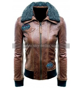 Justice League (Champion of Justice) Womens Fur Collar Brown Bomber Leather Jacket