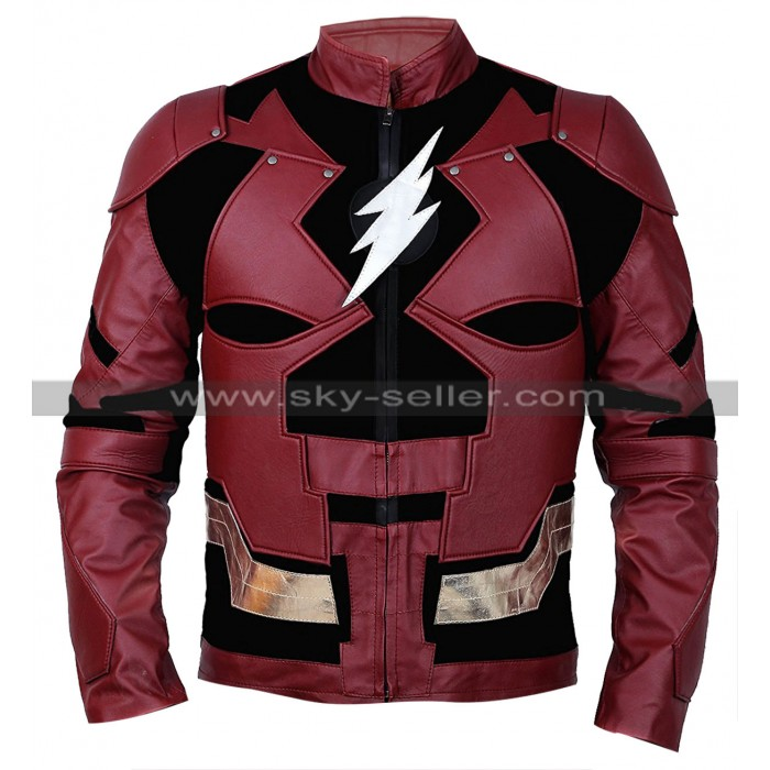 Justice League Flash Ezra Miller Costume Leather Jacket
