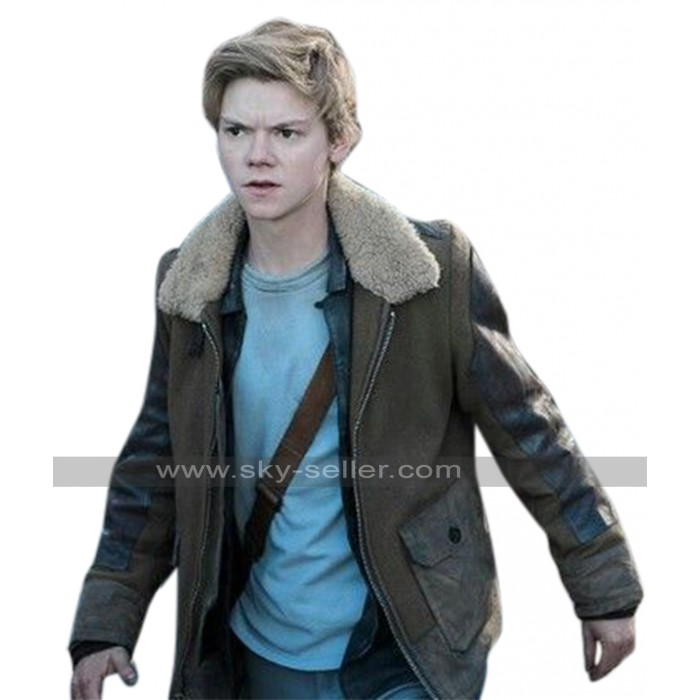 Maze Runner Death Cure Thomas Brodie Fur Collar Suede Leather Jacket