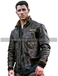 Alex (Nick Jonas) Jumanji 2 Welcome To The Jungle Fur Collar Leather Jacket