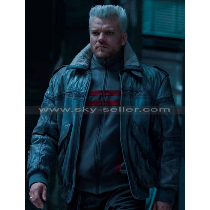 Batou Ghost in the Shell Shearling Bomber Leather Jacket