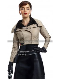 Solo A Star Wars Story Qira (Emilia Clarke) Fur Shearling Cotton / Faux Leather Jacket