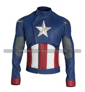 Captain America Avengers Endgame Chris Evans Steve Blue Costume Leather Jacket