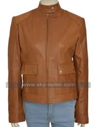The Avengers Scarlett Johansson Black Widow Tan Brown Leather Jacket