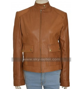 The Avengers Scarlett Johansson Black Widow Tan Brown Leather Jacket
