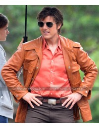 Tom Cruise Mena Barry Seal Brown Leather Jacket