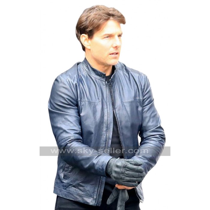 Mission Impossible 6 Tom Cruise Blue Biker Leather Jacket