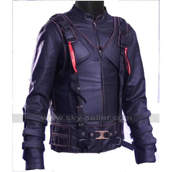 Tom Hardy Bane Dark Knight Rises Black Leather Costume Jacket