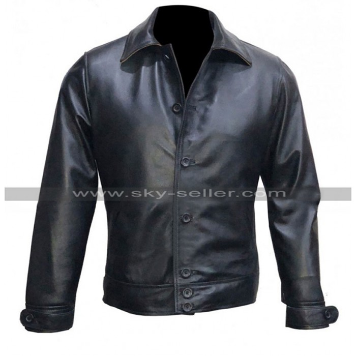 Whiskey Kingsman The Golden Circle Pedro Pascal Black Leather Jacket