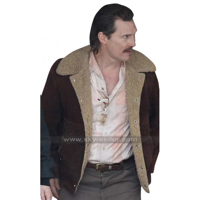 White Boy Rick Matthew McConaughey Fur Collar Maroon Suede Leather Jacket