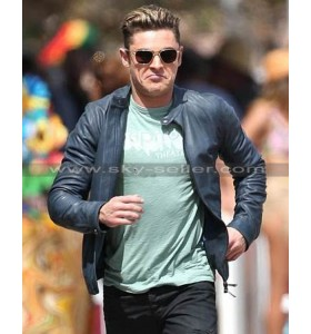 Baywatch Zac Efron Motorcycle Black Leather Jacket