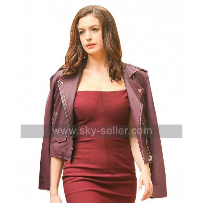 Oceans 8 Anne Hathaway (Daphne Kluger) Purple Leather Jacket