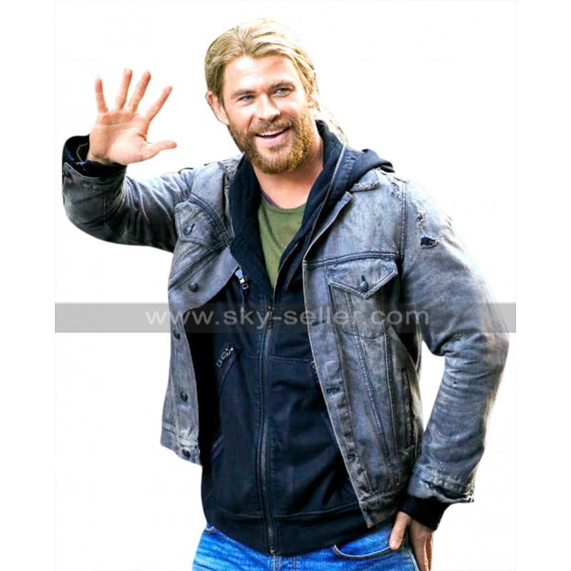 6a07980283f Thor Ragnarok Chris Hemsworth Grey Denim Jacket