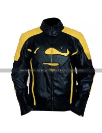 Superman Mens Yellow Stripes Black Leather Jacket