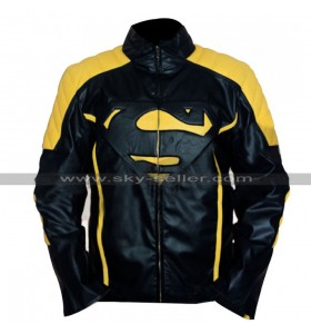 Superman Mens Yellow Stripes Black Leather Jacket