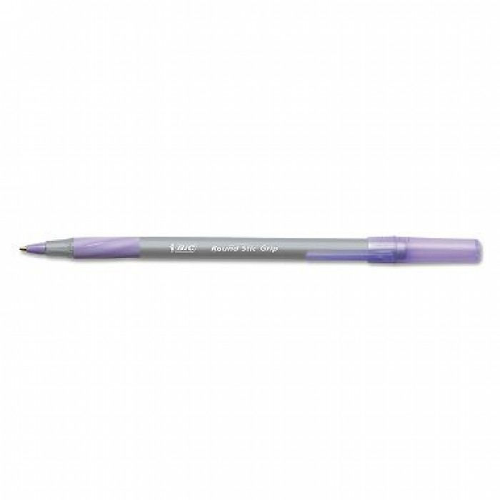 BIC Round Stic Grip Xtra Comfort Ballpoint Pen, 1.2mm, Medium, Purple Ink, 12ct