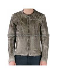 Men's Quilted Grey Slimfit Biker Leather Jacket