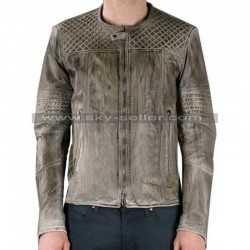 Men's Quilted Grey Slimfit Biker Leather Jacket