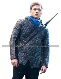 Robin Hood Taron Egerton Quilted Black Hoodie Leather Jacket